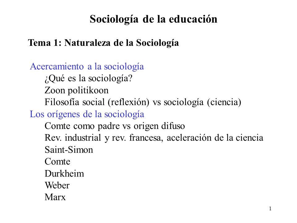 1 Sociología de la educación Tema 1: Naturaleza de la Sociología Acercamiento a la sociología ¿Qué es la sociología? Zoon politikoon Filosofía social