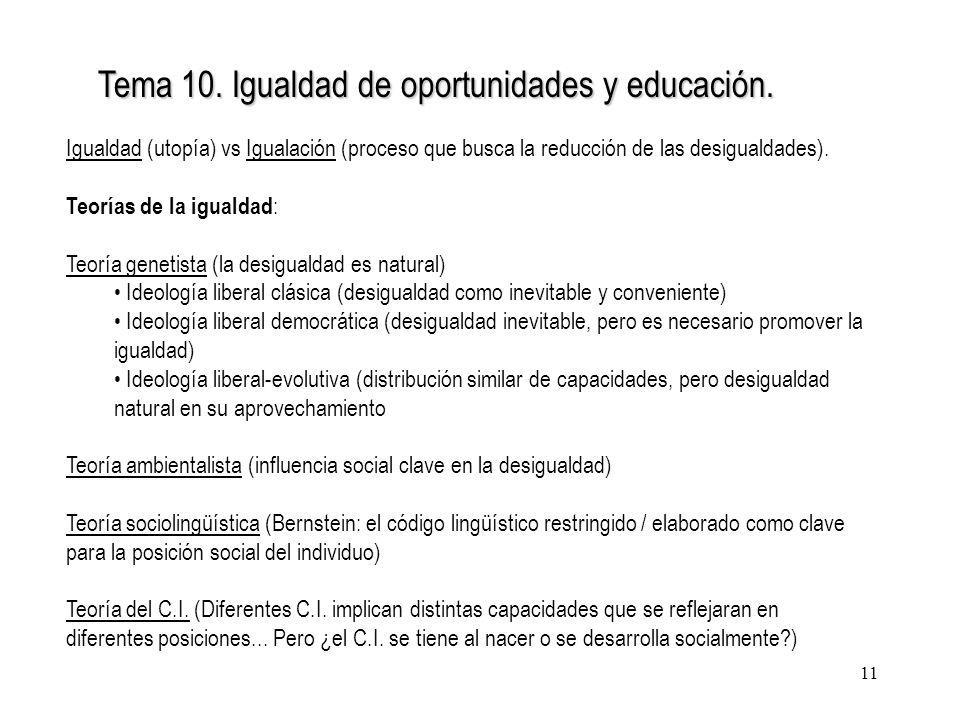 11 Tema 10. Igualdad de oportunidades y educación. Igualdad (utopía) vs Igualación (proceso que busca la reducción de las desigualdades). Teorías de l