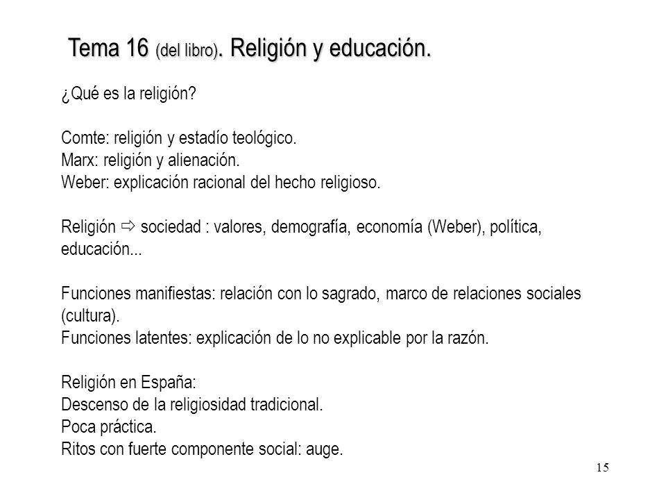 15 Tema 16 (del libro). Religión y educación. ¿Qué es la religión? Comte: religión y estadío teológico. Marx: religión y alienación. Weber: explicació