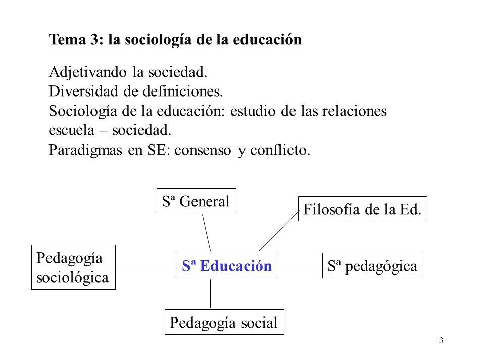 3 Tema 3: la sociología de la educación Adjetivando la sociedad. Diversidad de definiciones. Sociología de la educación: estudio de las relaciones esc