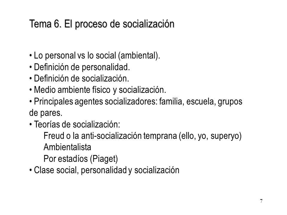 7 Tema 6. El proceso de socialización Lo personal vs lo social (ambiental). Definición de personalidad. Definición de socialización. Medio ambiente fí
