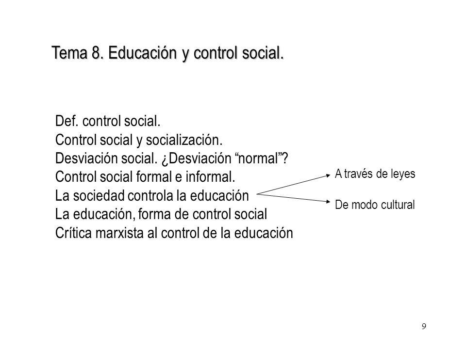 9 Tema 8. Educación y control social. Def. control social. Control social y socialización. Desviación social. ¿Desviación normal? Control social forma