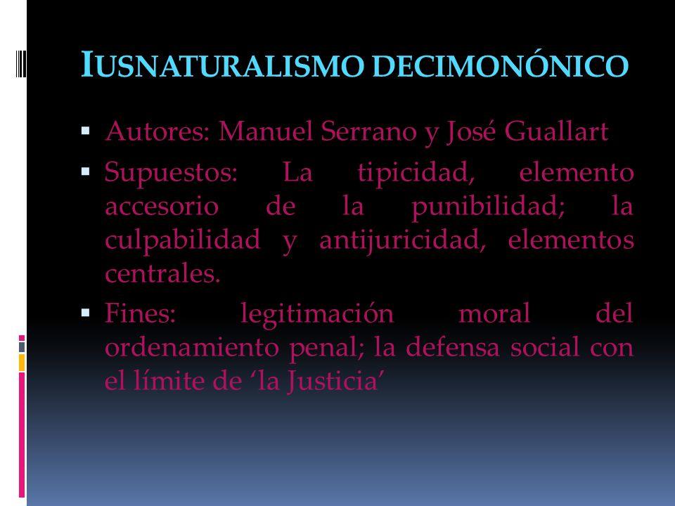 I USNATURALISMO DECIMONÓNICO Autores: Manuel Serrano y José Guallart Supuestos: La tipicidad, elemento accesorio de la punibilidad; la culpabilidad y