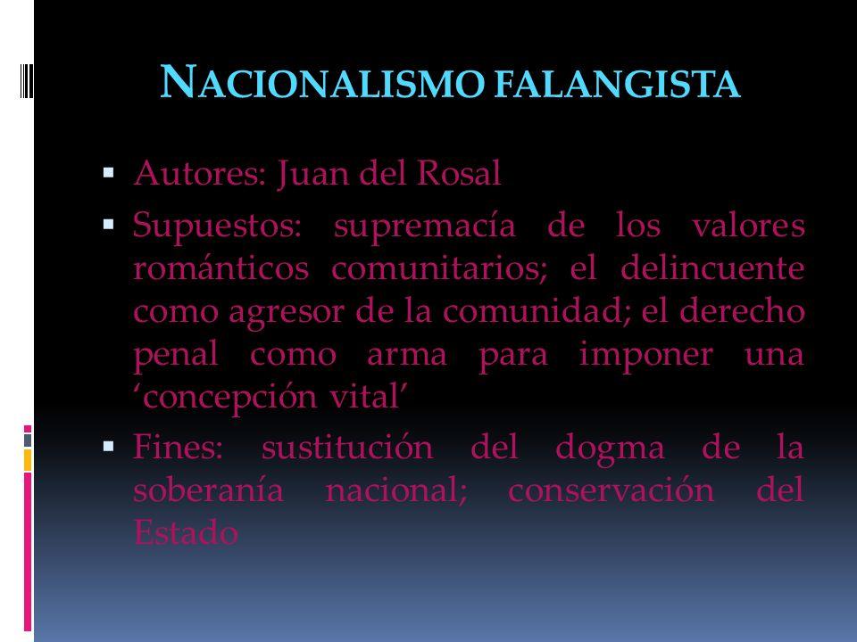 N ACIONALISMO FALANGISTA Autores: Juan del Rosal Supuestos: supremacía de los valores románticos comunitarios; el delincuente como agresor de la comun