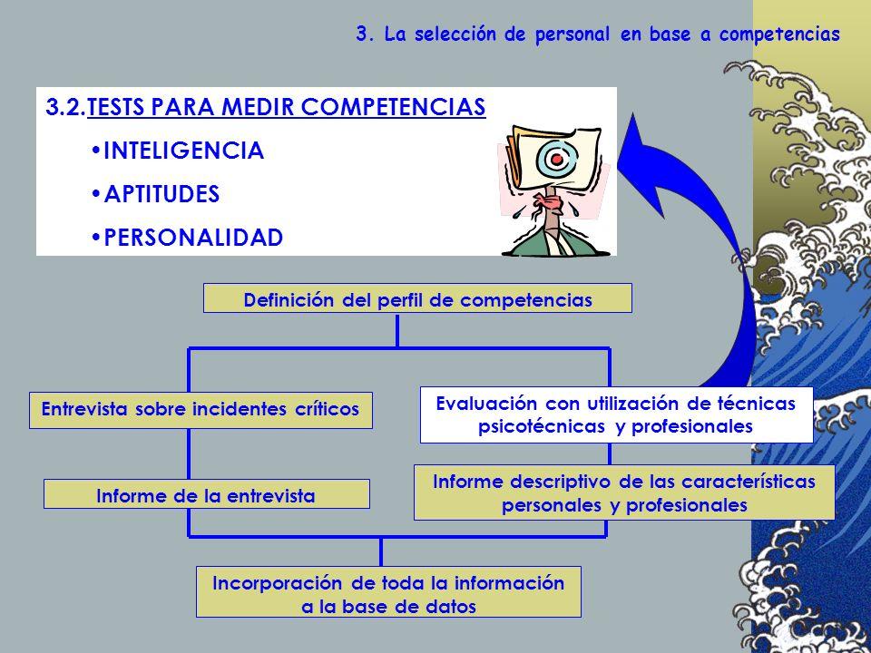 Definición del perfil de competencias Evaluación con utilización de técnicas psicotécnicas y profesionales Entrevista sobre incidentes críticos Informe de la entrevista Informe descriptivo de las características personales y profesionales Incorporación de toda la información a la base de datos 3.