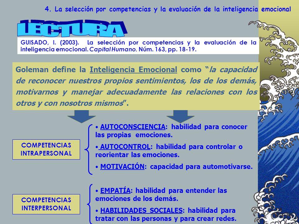 4. La selección por competencias y la evaluación de la inteligencia emocional GUISADO, I. (2003). La selección por competencias y la evaluación de la