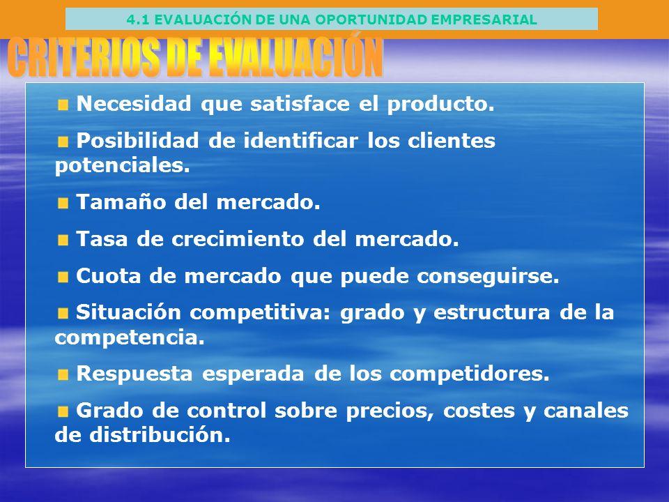 4.1 EVALUACIÓN DE UNA OPORTUNIDAD EMPRESARIAL Necesidad que satisface el producto. Posibilidad de identificar los clientes potenciales. Tamaño del mer