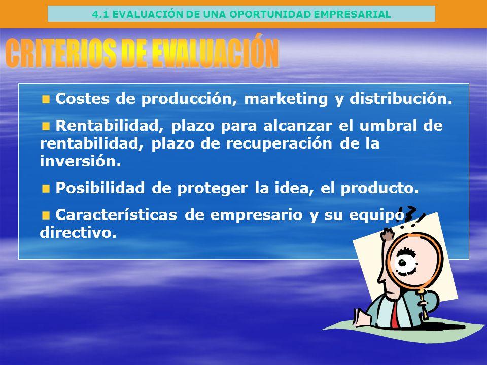 4.1 EVALUACIÓN DE UNA OPORTUNIDAD EMPRESARIAL Costes de producción, marketing y distribución. Rentabilidad, plazo para alcanzar el umbral de rentabili