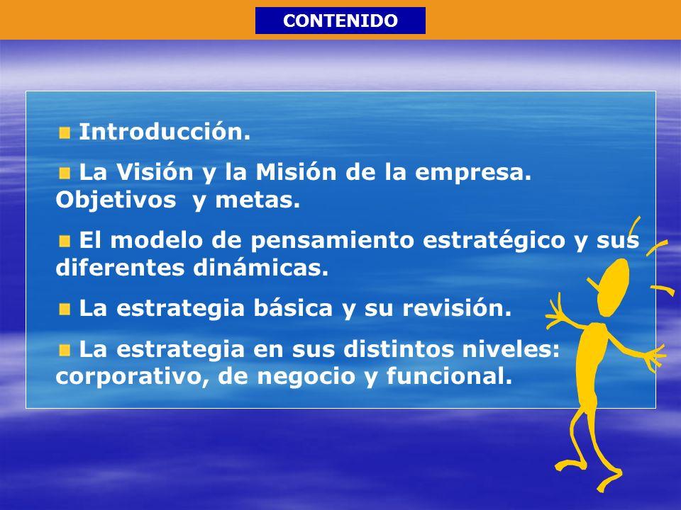 CONTENIDO Introducción. La Visión y la Misión de la empresa. Objetivos y metas. El modelo de pensamiento estratégico y sus diferentes dinámicas. La es
