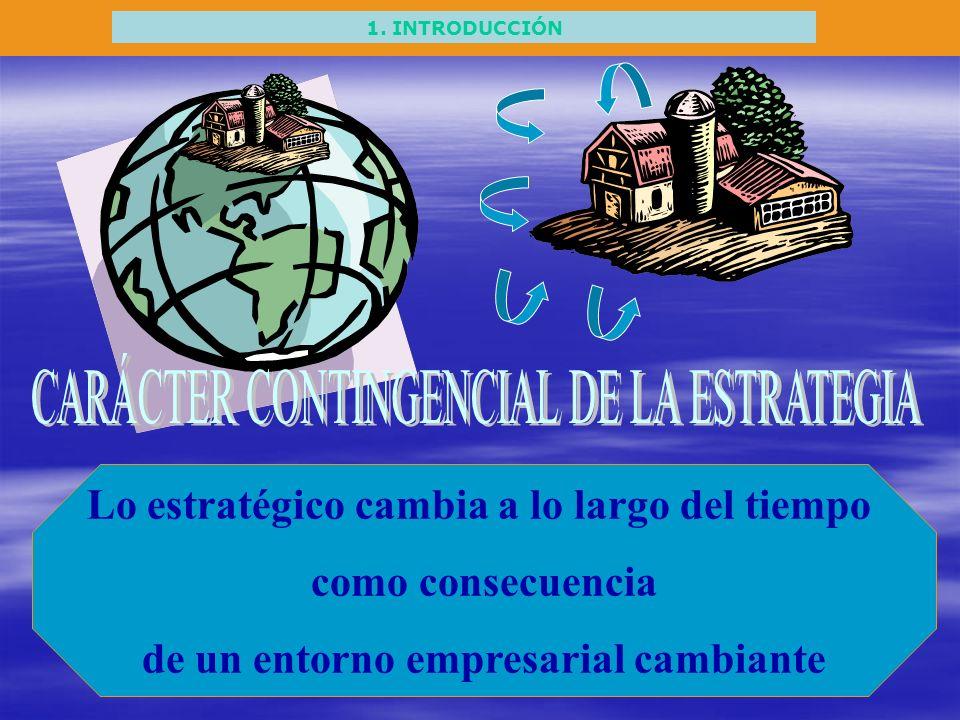 1. INTRODUCCIÓN Lo estratégico cambia a lo largo del tiempo como consecuencia de un entorno empresarial cambiante
