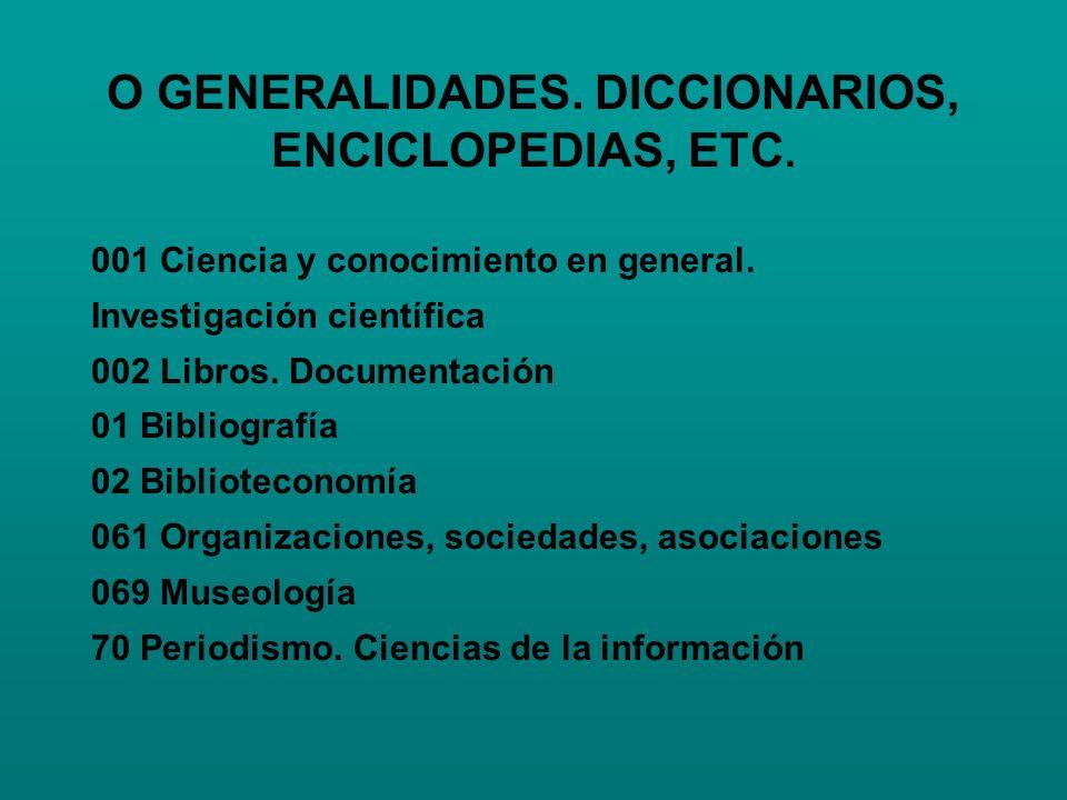 O GENERALIDADES. DICCIONARIOS, ENCICLOPEDIAS, ETC. 001 Ciencia y conocimiento en general. Investigación científica 002 Libros. Documentación 01 Biblio