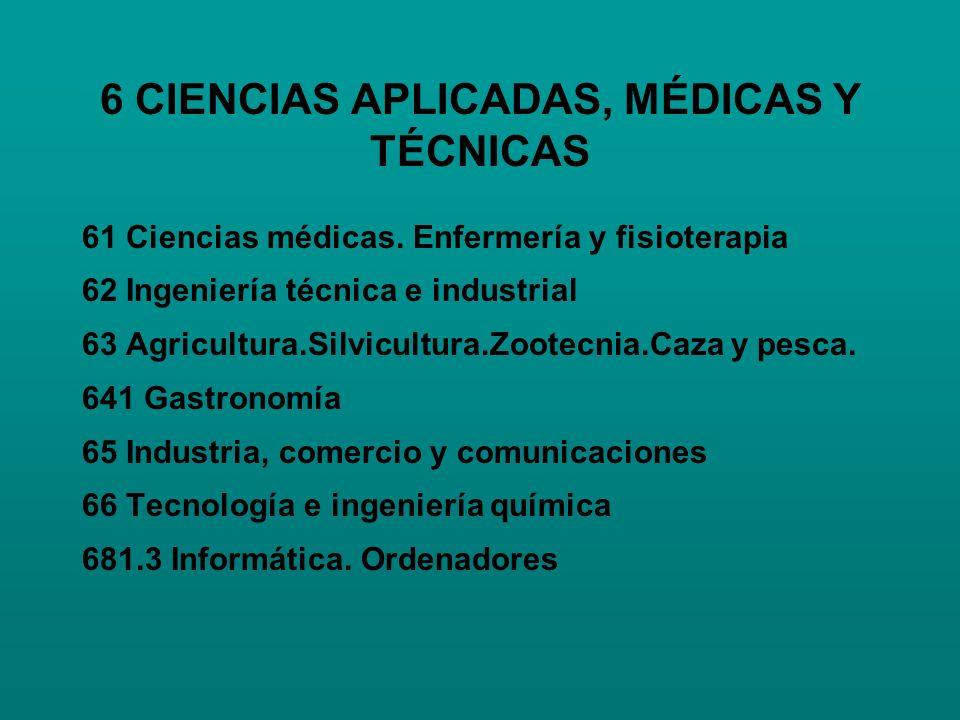 6 CIENCIAS APLICADAS, MÉDICAS Y TÉCNICAS 61 Ciencias médicas. Enfermería y fisioterapia 62 Ingeniería técnica e industrial 63 Agricultura.Silvicultura