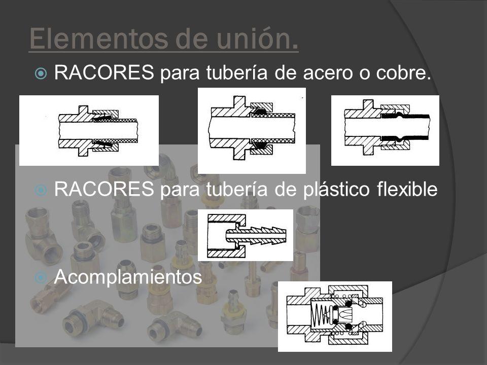 Elementos de unión. RACORES para tubería de acero o cobre. RACORES para tubería de plástico flexible Acomplamientos