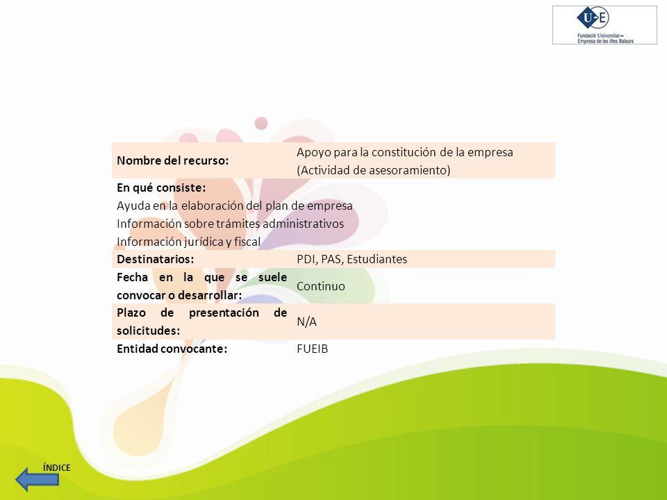 Nombre del recurso: Apoyo para la constitución de la empresa (Actividad de asesoramiento) En qué consiste: Ayuda en la elaboración del plan de empresa