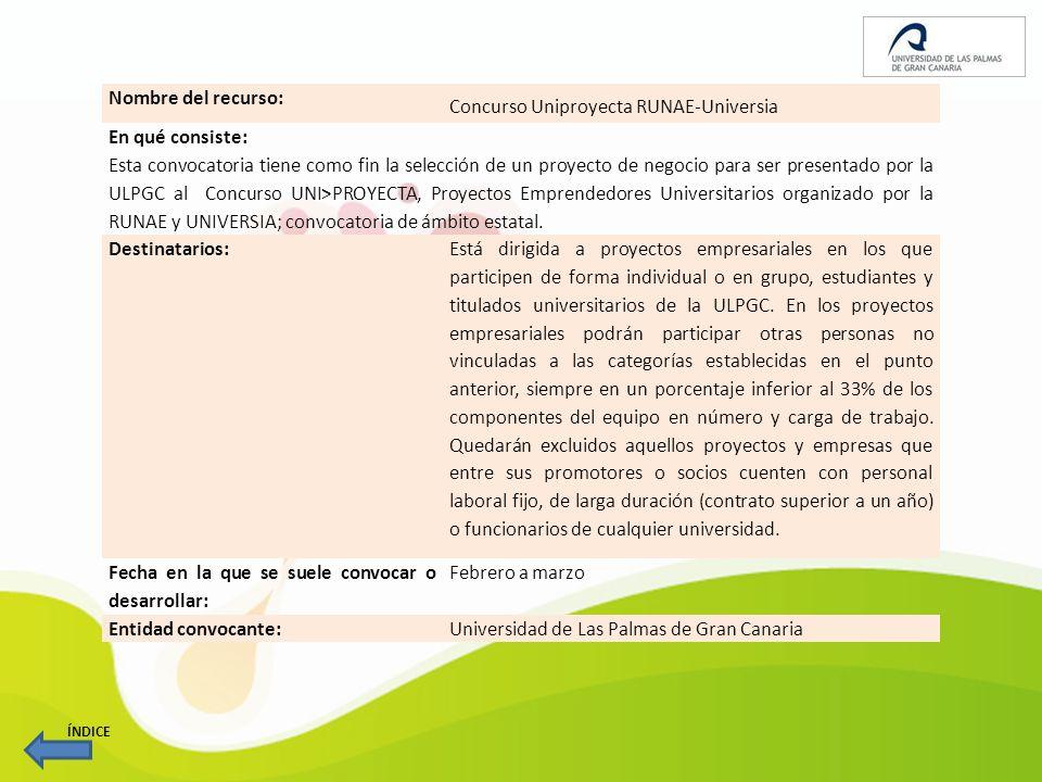 Nombre del recurso: Programa Tecnova Gran Canaria para la creación de empresas de base tecnológica o innovadora En qué consiste: Su objetivo principal es Impulsar la creación de empresas y empleo cualificado en actividades tecnológicas e intensas en conocimiento en Gran Canaria .