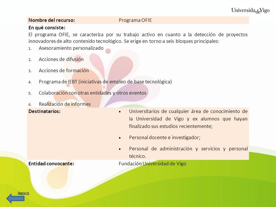 Nombre del recurso:Programa OFIE En qué consiste: El programa OFIE, se caracteriza por su trabajo activo en cuanto a la detección de proyectos innovad