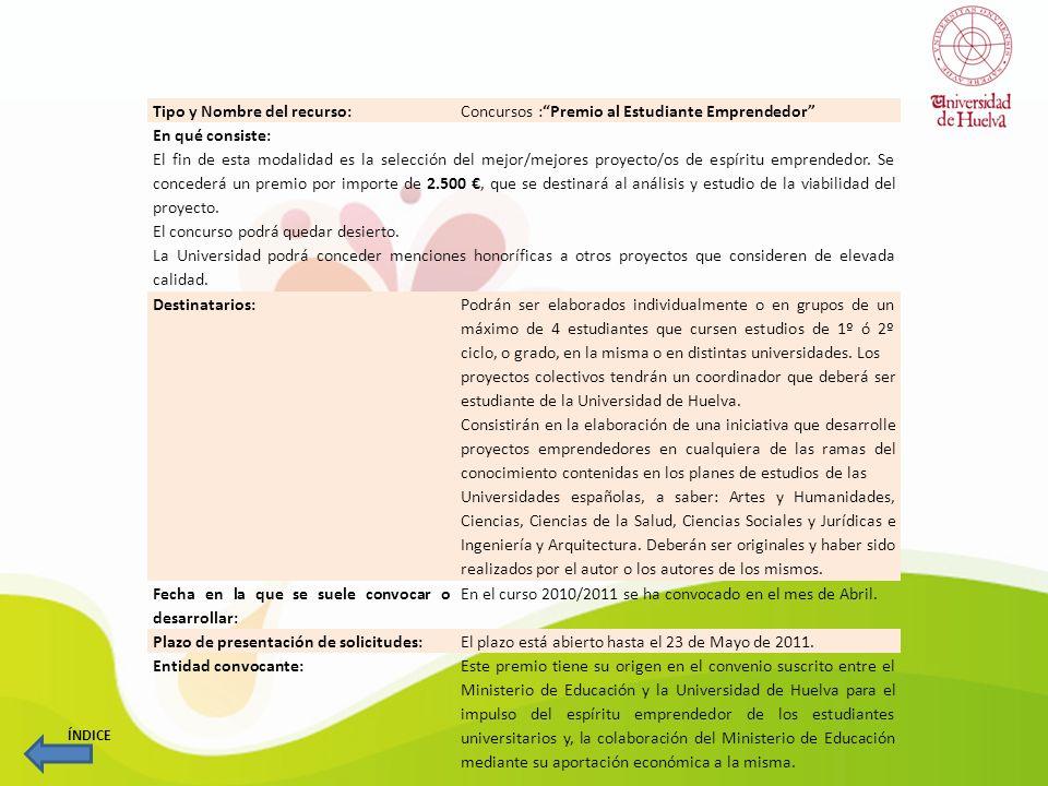 Tipo y Nombre del recurso: Prácticas: Convocatoria de Prácticas para el Emprendimiento Uniporta11 En qué consiste: El objetivo de esta convocatoria es fomentar la movilidad europea de los estudiantes y de los recién titulados con vocación emprendedora, con el objeto de realizar prácticas en empresas situadas en las regiones socias y que son similares a las que pretenden poner en marcha en Huelva y provincia.