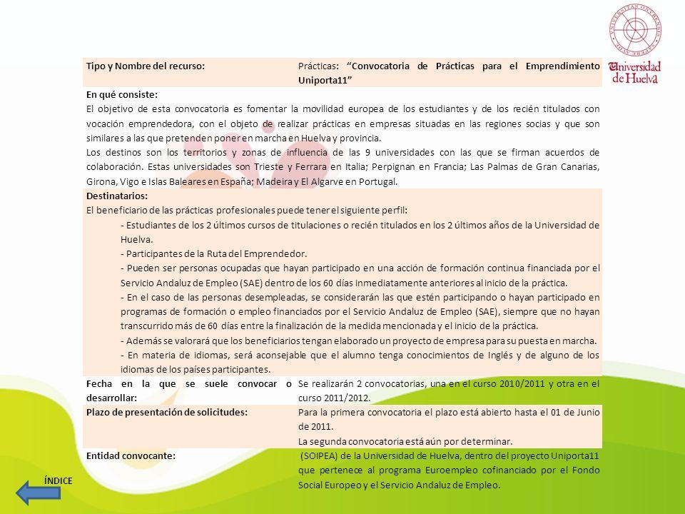 Tipo y Nombre del recurso: Prácticas: Convocatoria de Prácticas para el Emprendimiento Uniporta11 En qué consiste: El objetivo de esta convocatoria es