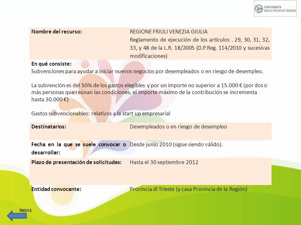Nombre del recurso: CAMPUS DIMPRESA En qué consiste: Campus dimpresa es un programa de apoyo a la creación de empresas financiado por la Región de Friuli Venezia Giulia y por el Fondo Social Europeo.