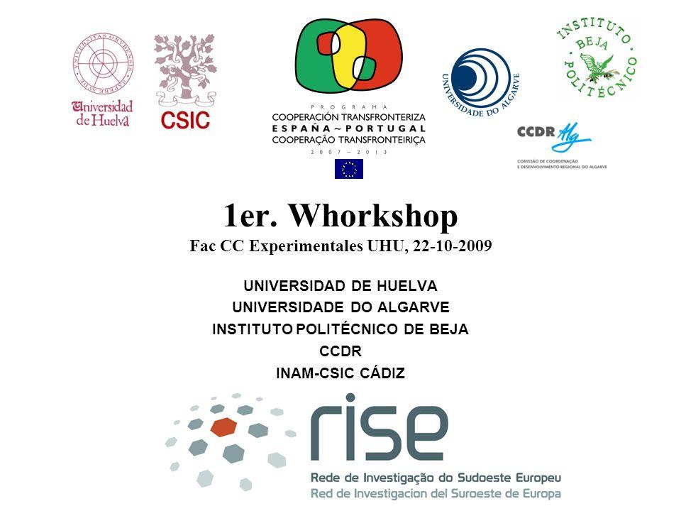 1er. Whorkshop Fac CC Experimentales UHU, 22-10-2009 UNIVERSIDAD DE HUELVA UNIVERSIDADE DO ALGARVE INSTITUTO POLITÉCNICO DE BEJA CCDR INAM-CSIC CÁDIZ