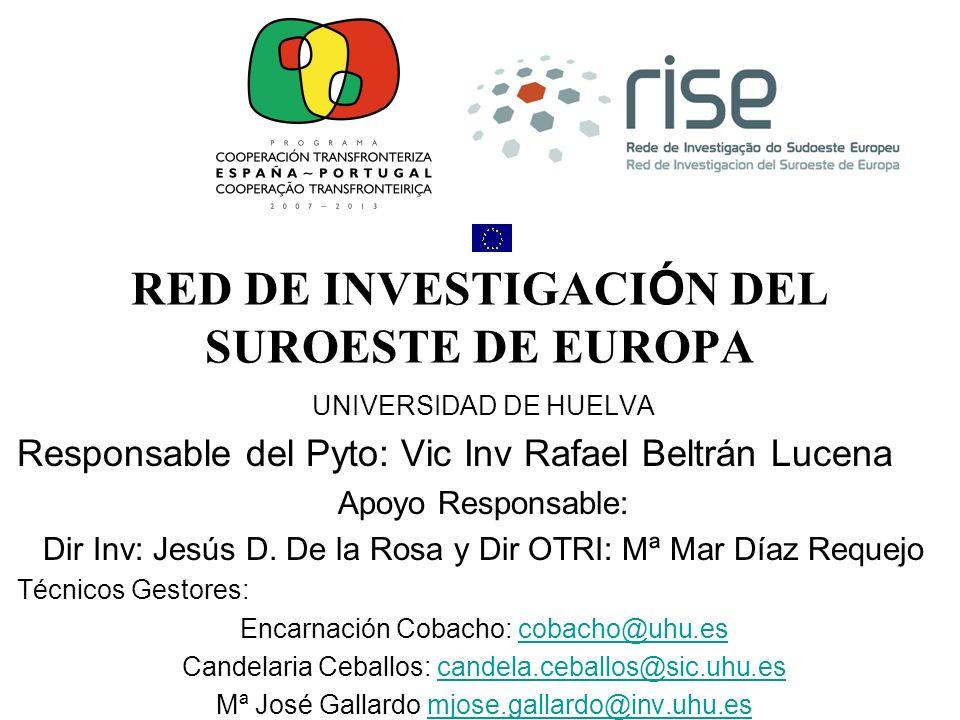 Objetivo General Whorkshop La Red de Investigación del Suroeste de Europa tiene como objetivo principal la dinamización de actividades de investigación conjuntas en el espacion transfronterizo de las regiones de Andalucía, Algarve y Baiixo Alentejo.