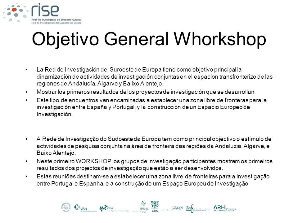 Objetivo General Whorkshop La Red de Investigación del Suroeste de Europa tiene como objetivo principal la dinamización de actividades de investigació