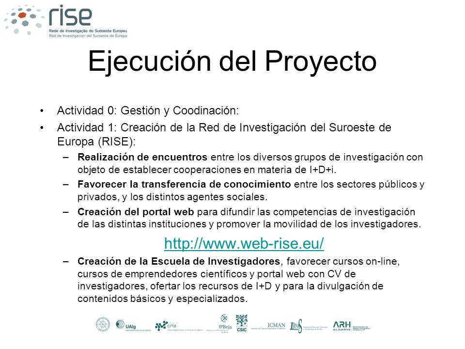 Ejecución del Proyecto Actividad 0: Gestión y Coodinación: Actividad 1: Creación de la Red de Investigación del Suroeste de Europa (RISE): –Realizació