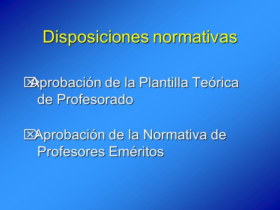 Disposiciones normativas Aprobación de la Plantilla Teórica Aprobación de la Plantilla Teórica de Profesorado Aprobación de la Normativa de Aprobación de la Normativa de Profesores Eméritos