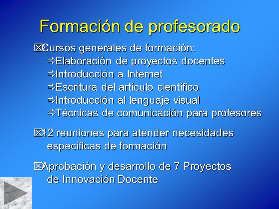 Formación de profesorado Cursos generales de formación: Cursos generales de formación: Elaboración de proyectos docentes Elaboración de proyectos doce