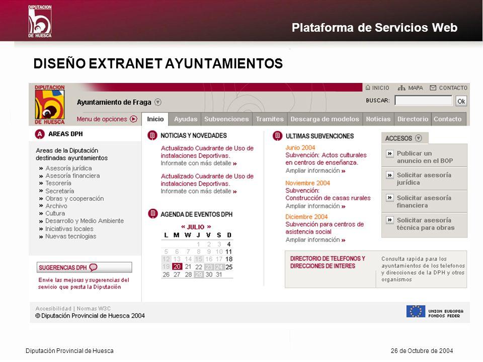 Diputación Provincial de Huesca26 de Octubre de 2004 Plataforma de Servicios Web DISEÑO EXTRANET AYUNTAMIENTOS