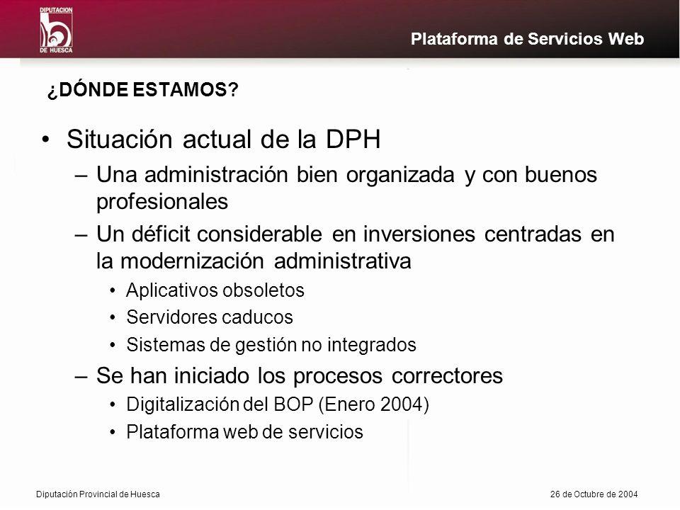 Diputación Provincial de Huesca26 de Octubre de 2004 Plataforma de Servicios Web ¿DÓNDE ESTAMOS.