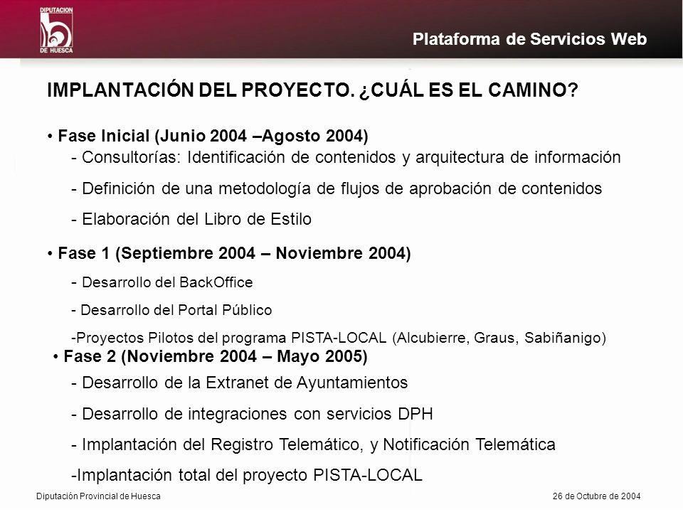 Diputación Provincial de Huesca26 de Octubre de 2004 Plataforma de Servicios Web IMPLANTACIÓN DEL PROYECTO.