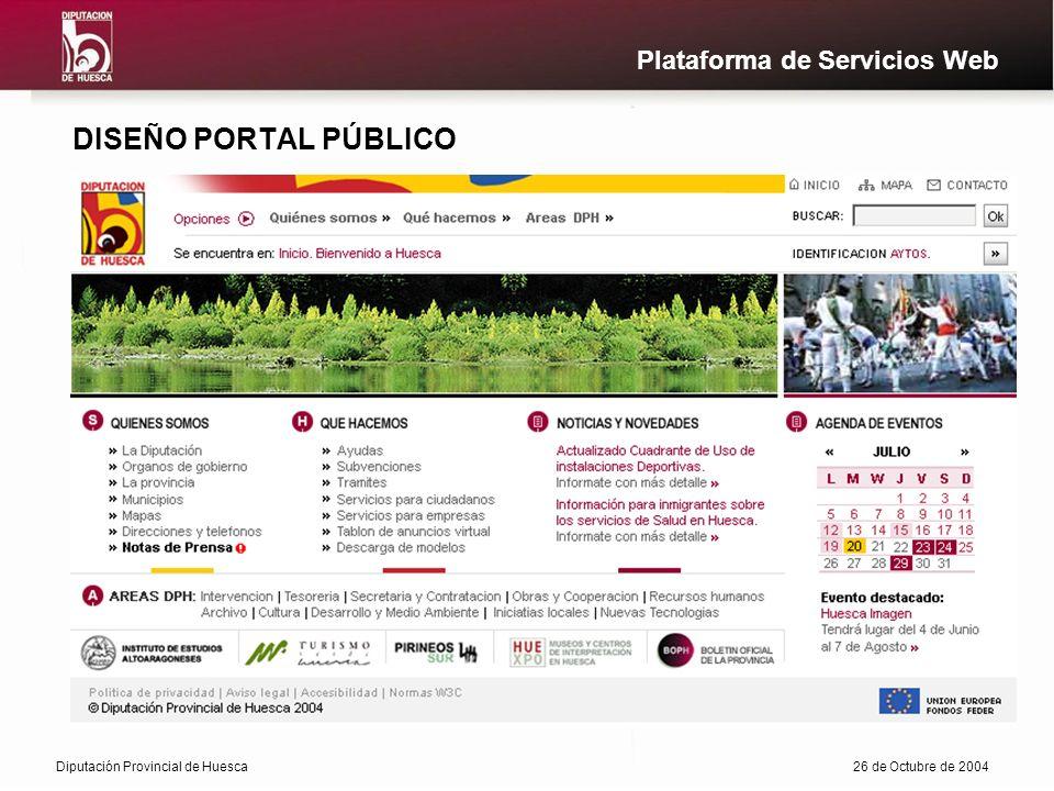 Diputación Provincial de Huesca26 de Octubre de 2004 Plataforma de Servicios Web DISEÑO PORTAL PÚBLICO