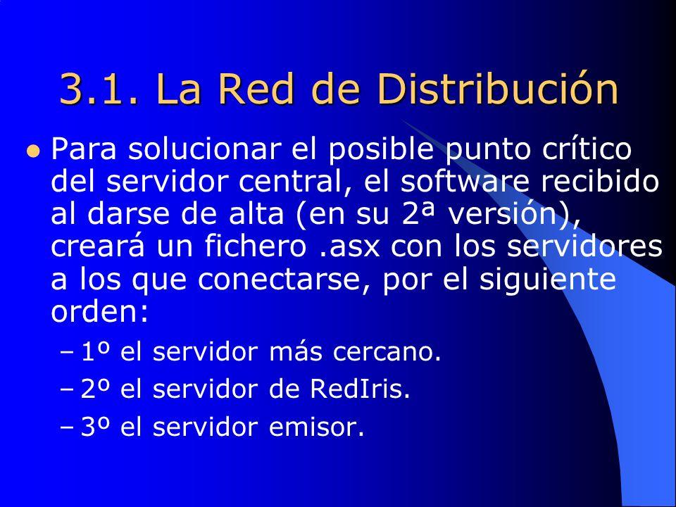 3.1. La Red de Distribución Para solucionar el posible punto crítico del servidor central, el software recibido al darse de alta (en su 2ª versión), c