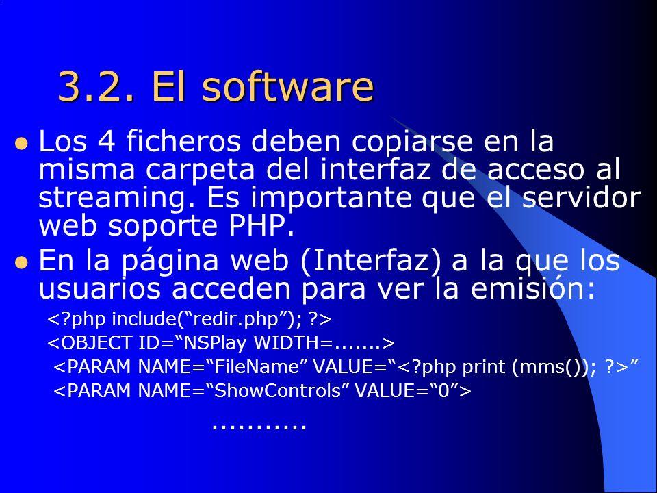 3.2. El software Los 4 ficheros deben copiarse en la misma carpeta del interfaz de acceso al streaming. Es importante que el servidor web soporte PHP.
