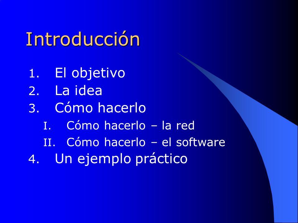 Introducción 1. El objetivo 2. La idea 3. Cómo hacerlo I.