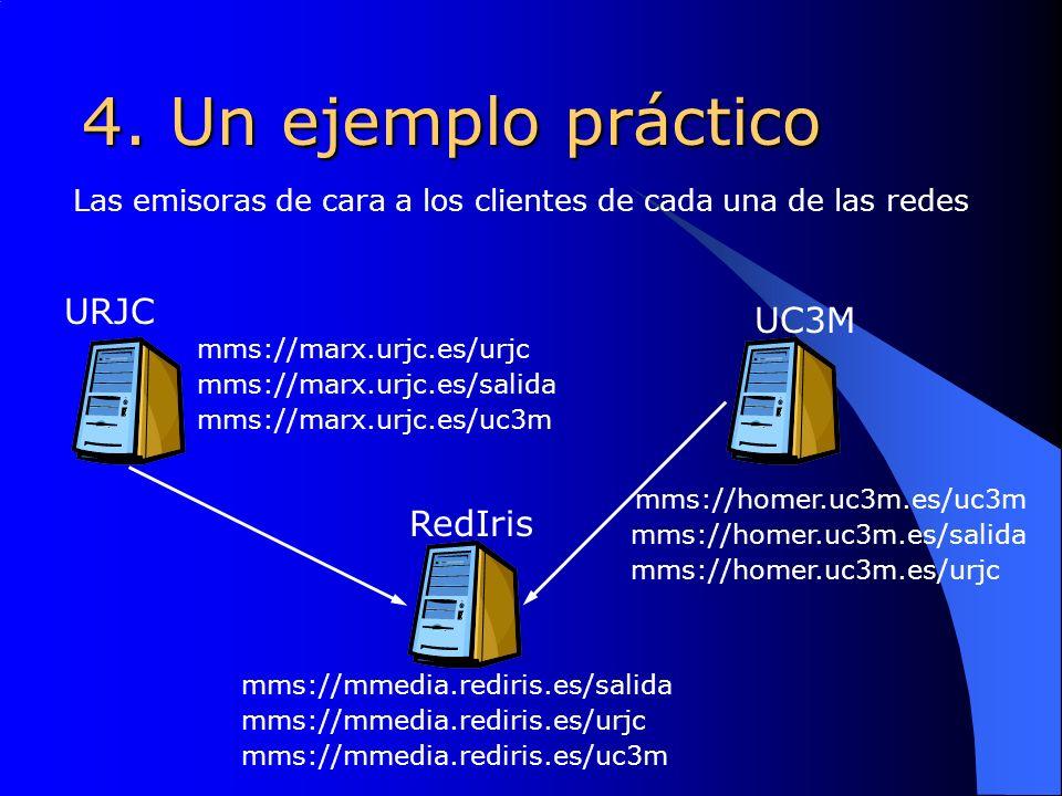 4. Un ejemplo práctico URJC UC3M RedIris Las emisoras de cara a los clientes de cada una de las redes mms://homer.uc3m.es/salida mms://marx.urjc.es/sa