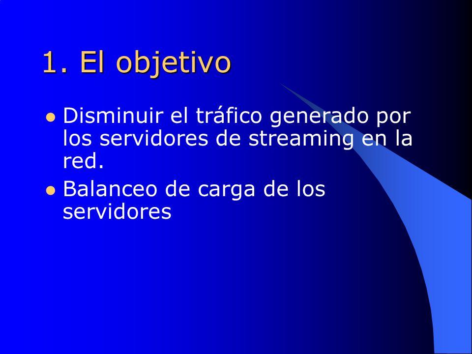 1. El objetivo Disminuir el tráfico generado por los servidores de streaming en la red.