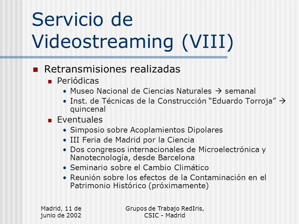 Madrid, 11 de junio de 2002 Grupos de Trabajo RedIris, CSIC - Madrid Servicio de Videostreaming (VIII) Retransmisiones realizadas Periódicas Museo Nacional de Ciencias Naturales semanal Inst.