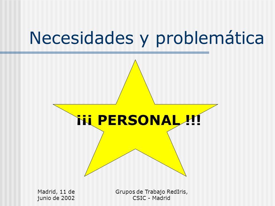 Madrid, 11 de junio de 2002 Grupos de Trabajo RedIris, CSIC - Madrid Necesidades y problemática ¡¡¡ PERSONAL !!!