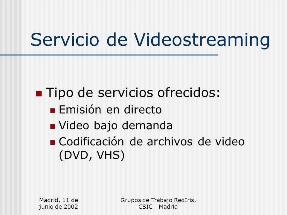 Madrid, 11 de junio de 2002 Grupos de Trabajo RedIris, CSIC - Madrid Futuro Estudiar otras herramientas Mejorar los mecanismos para el acceso restringido Realizar estadísticas Crear una base de datos adecuada Condicionado a la asignación de personal