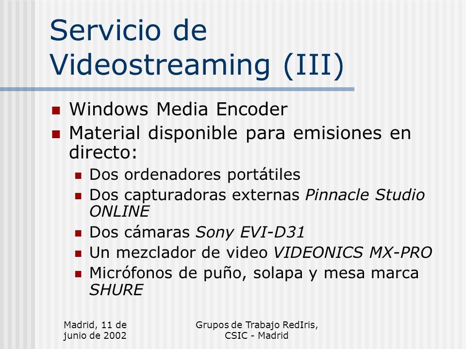 Madrid, 11 de junio de 2002 Grupos de Trabajo RedIris, CSIC - Madrid Servicio de Videostreaming (IV) Material disponible para codificación de documentos de video: Ordenador PC Capturadora interna Osprey 200 Sistema para edición de video Pinnacle DV500 Plus Adobe Premier 6.0 Magnetoscopio para cintas VHS Sony Reproductor DVD Philips DVD762