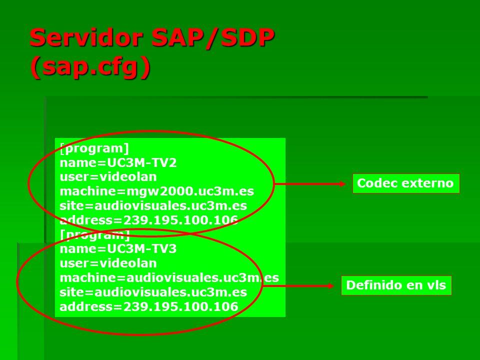 Servidor SAP/SDP (sap.cfg) [program] name=UC3M-TV2 user=videolan machine=mgw2000.uc3m.es site=audiovisuales.uc3m.es address=239.195.100.106 [program]