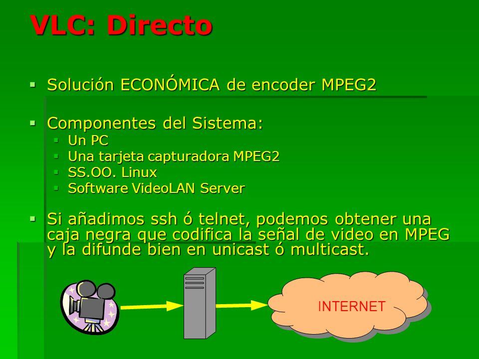 VLC: Directo Solución ECONÓMICA de encoder MPEG2 Solución ECONÓMICA de encoder MPEG2 Componentes del Sistema: Componentes del Sistema: Un PC Un PC Una