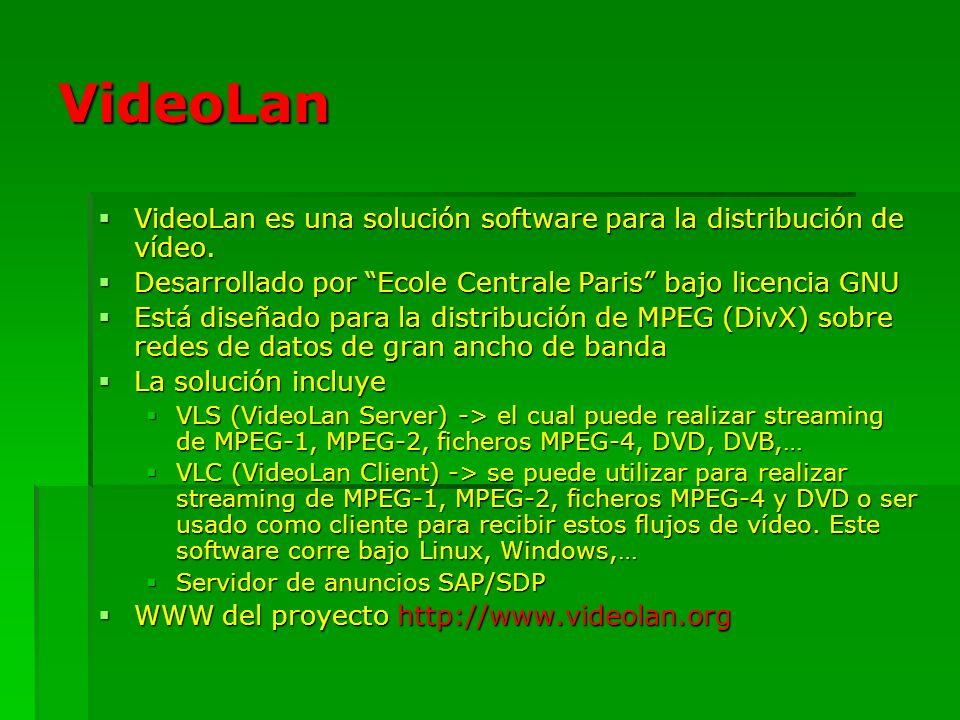 VideoLan VideoLan es una solución software para la distribución de vídeo. VideoLan es una solución software para la distribución de vídeo. Desarrollad