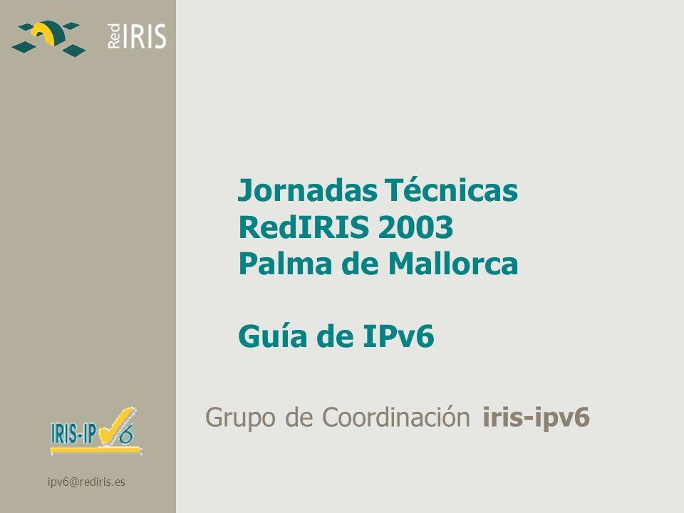 ipv6@rediris.es Jornadas Técnicas RedIRIS 2003 Palma de Mallorca Guía de IPv6 Grupo de Coordinación iris-ipv6