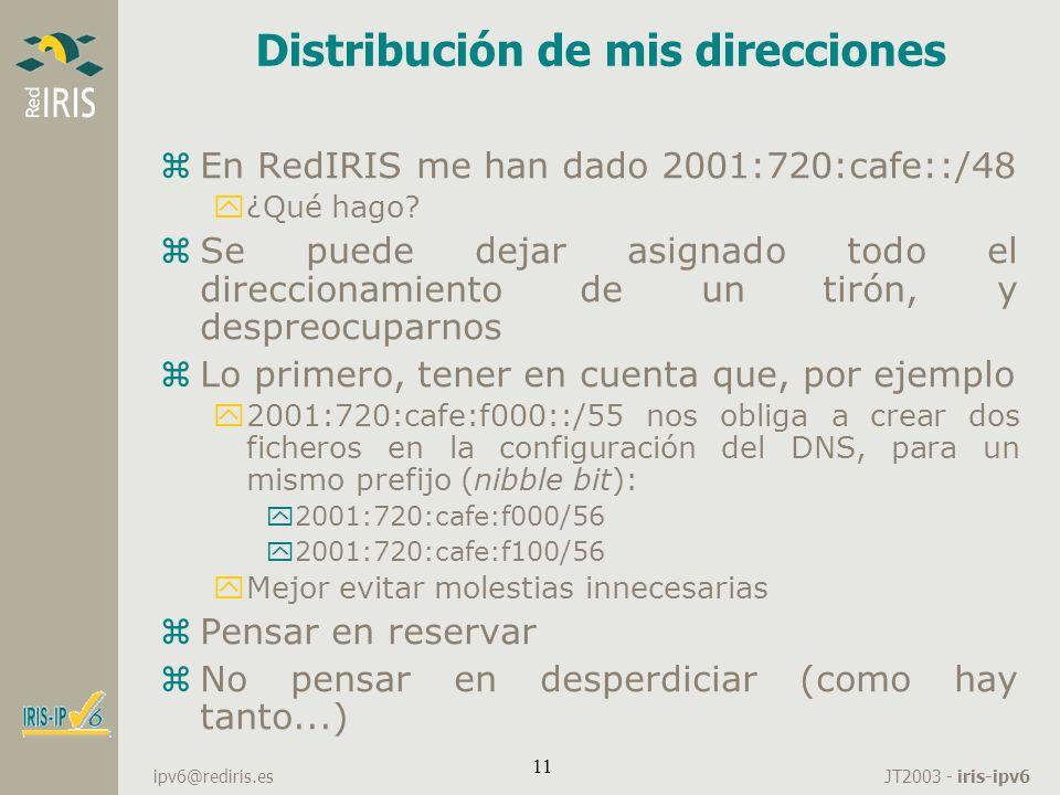 JT2003 - iris-ipv6 ipv6@rediris.es 11 Distribución de mis direcciones zEn RedIRIS me han dado 2001:720:cafe::/48 y¿Qué hago? zSe puede dejar asignado