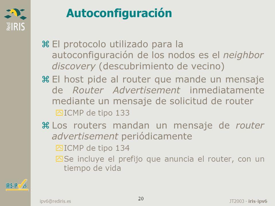 JT2003 - iris-ipv6 ipv6@rediris.es 20 Autoconfiguración zEl protocolo utilizado para la autoconfiguración de los nodos es el neighbor discovery (descu
