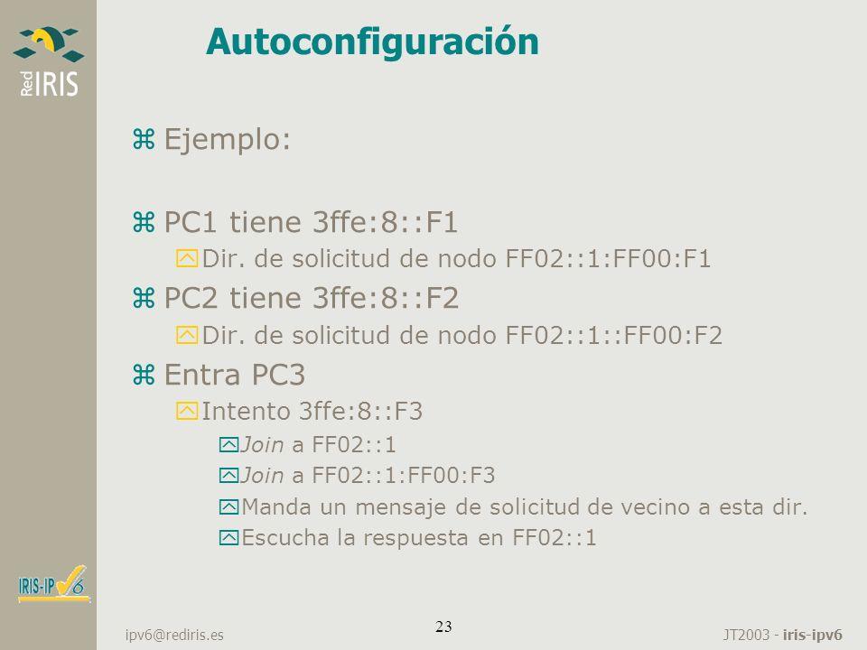 JT2003 - iris-ipv6 ipv6@rediris.es 23 zEjemplo: zPC1 tiene 3ffe:8::F1 yDir. de solicitud de nodo FF02::1:FF00:F1 zPC2 tiene 3ffe:8::F2 yDir. de solici