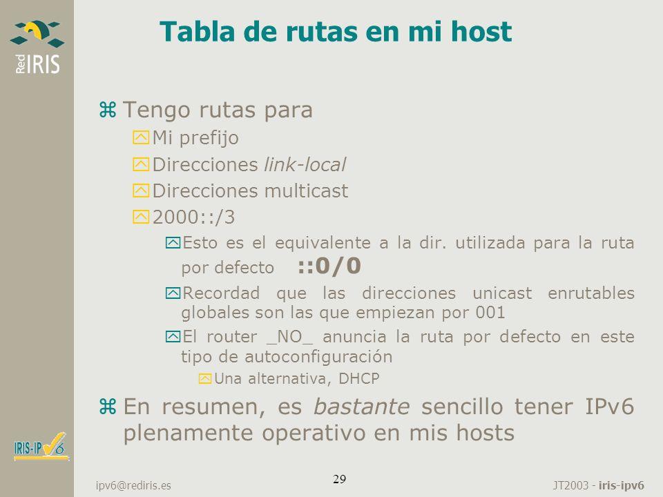 JT2003 - iris-ipv6 ipv6@rediris.es 29 Tabla de rutas en mi host zTengo rutas para yMi prefijo yDirecciones link-local yDirecciones multicast y2000::/3
